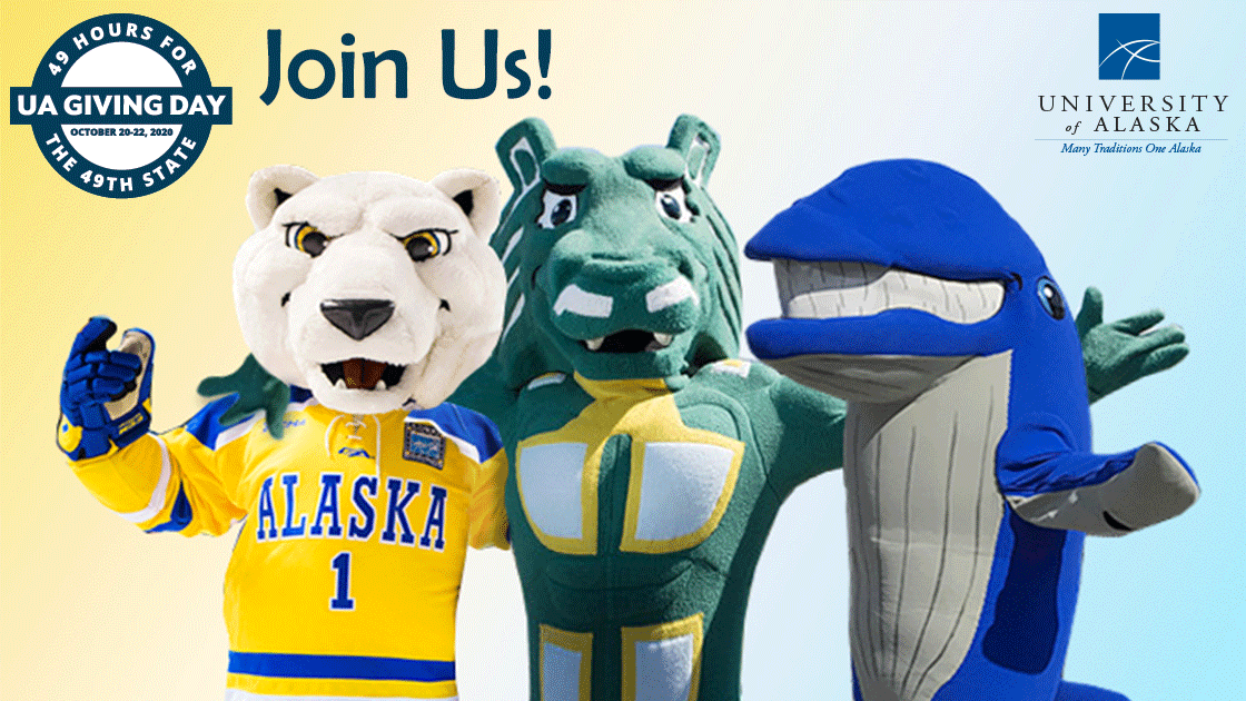 UA Giving Day image featuring all three UA mascots