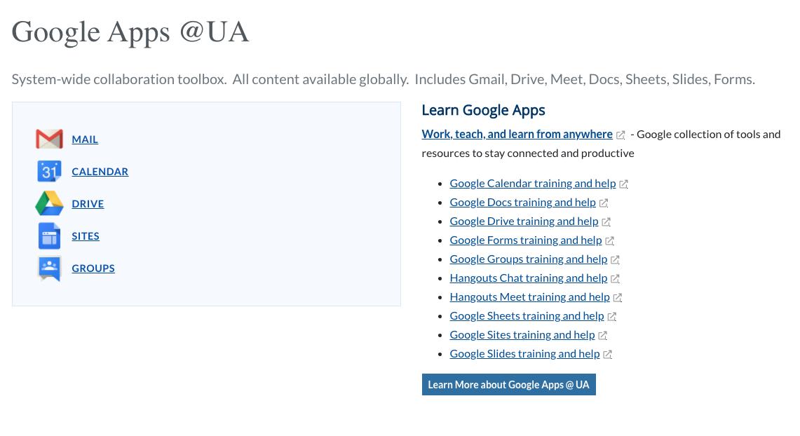 Google Apps @ UA screenshot
