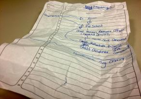 A hand written graph of the health care organizational system.