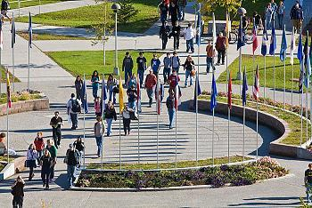 Image of students walking across UAF campus