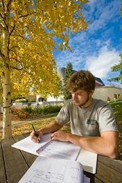 Image of student studying at a picnic table on UAF campus
