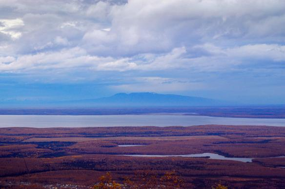 "a view of Mt. Susitna ""Sleeping Lady"" and Eagle River, Alaska (from the parking lot at Mount Baldy in Eagle River). Photo by Amber Gichard."