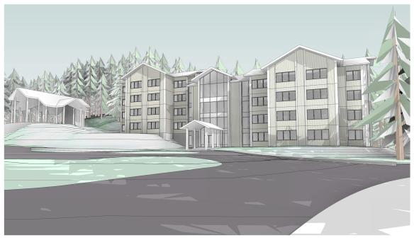 A concept design of the new dorms being built at UAS Juneau. Click the image to download the complete schematic design.