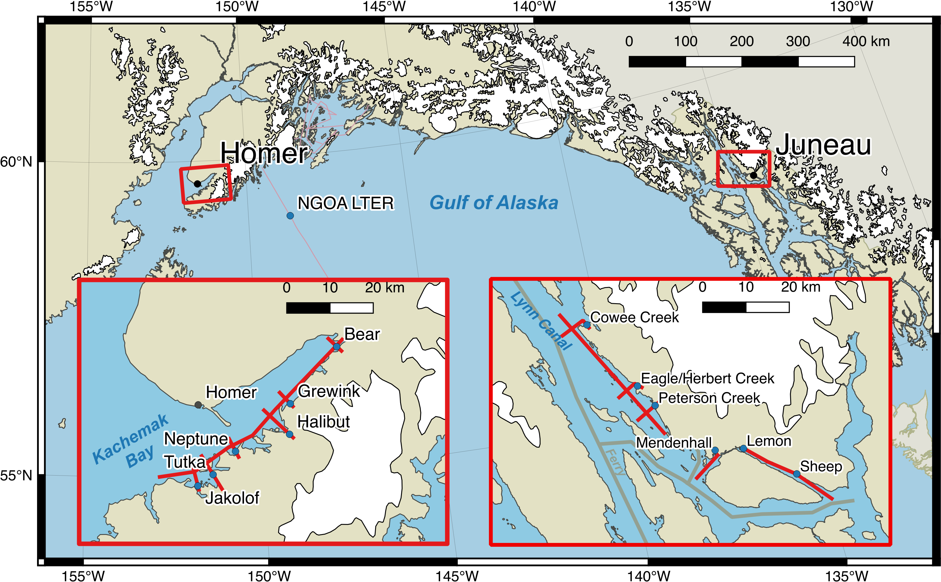 Map of Coastal Margins research