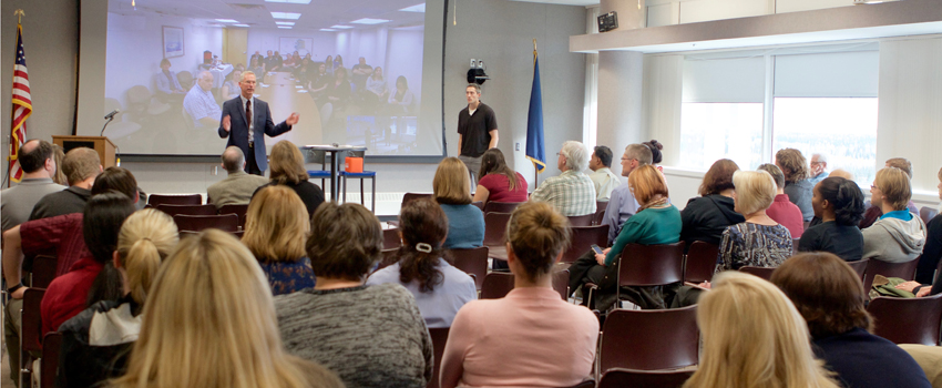Statewide employees gather for Coffee with the President