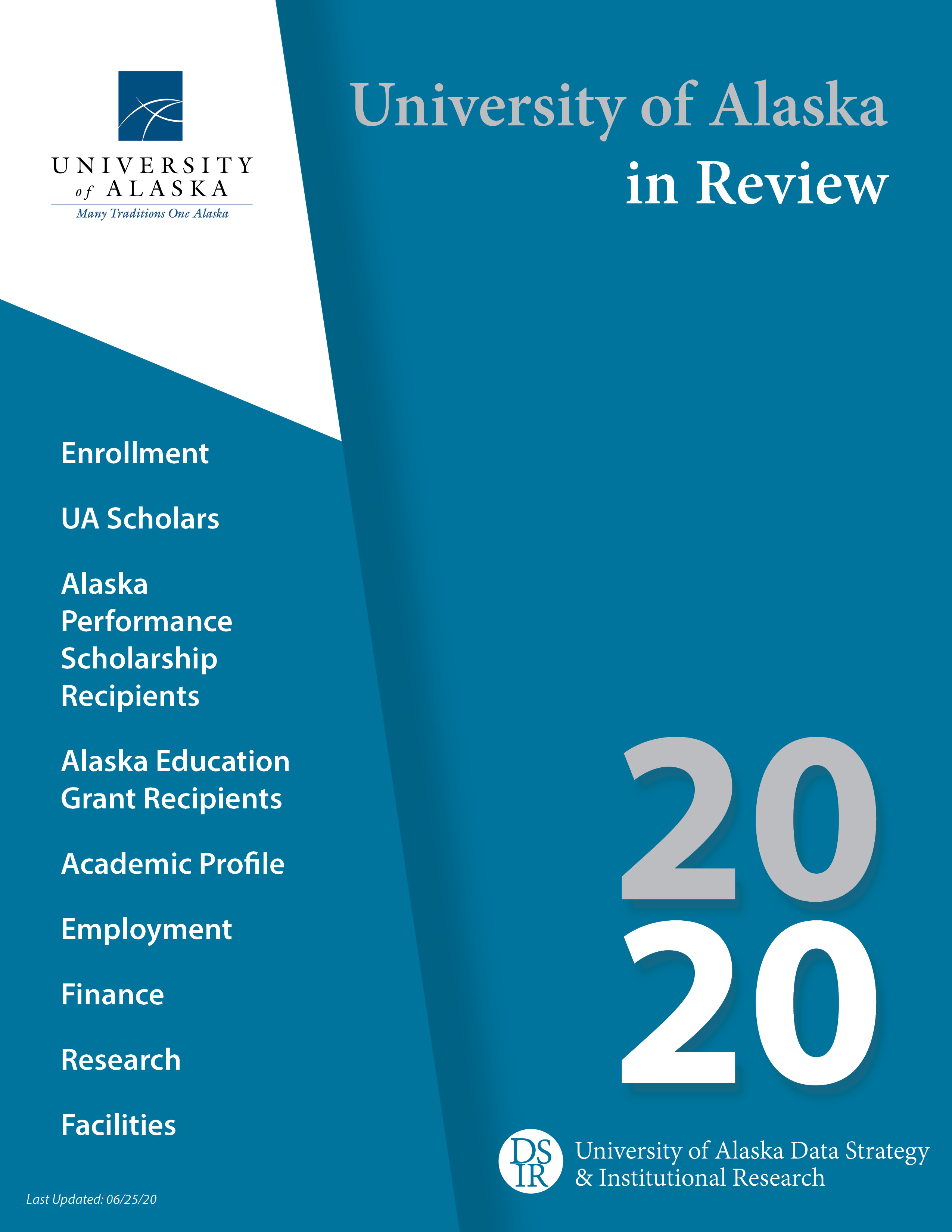 Cover of the report: University of Alaska in Review 2020