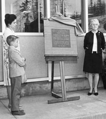 Helen Atkinson and son Jimmy, and Mrs. Ben Atkinson at the dedication of the heating plant - May 1968. Photo: UAF Archives, Alumni Services Collection 83-107-144