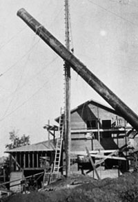 Raising the new smokestack for the college. Photo: University of Alaska Archives, LarVern Keys Collection