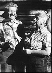 Olaus and Mardy Murie outside their log cabin near the Snake River. Photo: Murie Center