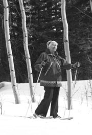Mardy Murie snowshoeing near her Wyoming cabin. Photo: Barbara Barker