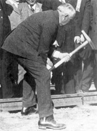 President Harding drives in the spike on the Alaska Railroad. Photo: Alaska's Digital Archive
