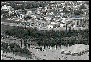 The 1967 Fairbanks flood. The University of Alaska is in the background. Photo: UAF Archives