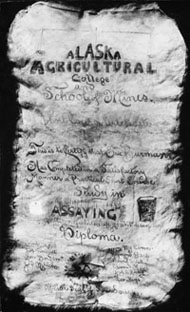 This is a copy of one of the brilliantly decorated short course certificates - the very one that was stolen. Photo: UA Archives, LarVern Keys Collection