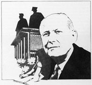 Line drawing of Dr. Wood with the Fine Arts Complex behind him.