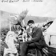 A picture of Phil Ernst in Nome Alaska with moose antlers.