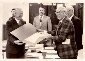 Robert McFarland accepting Resolution of Appreciation, May 1, 1976. Photo: BOR file